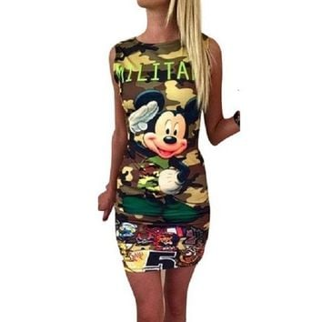 Camouflage Double Print  Summer Dress  Casual Sexy Mini Dress Vestidos Women Dress Dresses Vestido WD369