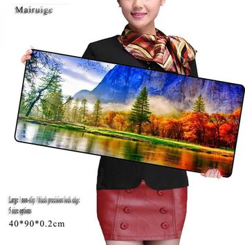 Mairuige Nature Beauty Large Gaming  Mouse Pad 900*300mm Plain Extended Anti-slip Natural Rubber Desk Mat Mouse Mat Keyboard Mat