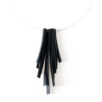 Black tassel necklace made from reclaimed bike tire inner tube , unique rubber fringe jewellery handmade from recycled bicycle rubber tube