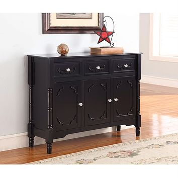 Solid Wood Black Finish Sideboard Console Table with Storage Drawers