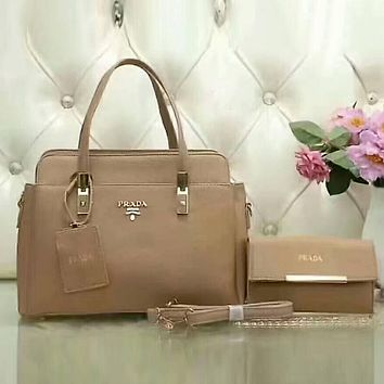 PRADA Women Trending Shopping Leather Satchel Tote Handbag Shoulder Bag Crossbody Set Two-Piece Khaki I-LLBPFSH
