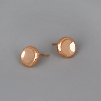 Rose Gold Stud Earrings, Simple Post Earrings, Rose Gold Jewelry, Pebbles Earring, Everyday Earrings, 10mm Stud Earrings