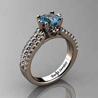 Classic 14K Rose Gold 1.0 Ct Blue Topaz Diamond Solitaire Engagement Ring R1027-14KRGDBT