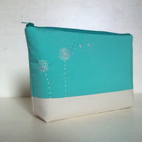5 Bridesmaids gift, Personalized Make-Up bag, Cosmetic Pouch, Mint, Set of 5
