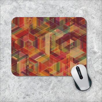 Geometric Mousepad, Triangles Mouse Pad, Argyle Mouse Mat, Personalized Computer Accessories