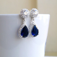 Bridal Earrings Blue Sapphire CZ Halo Pear CZ Teardrop Silver Post Stud CNEP2-B