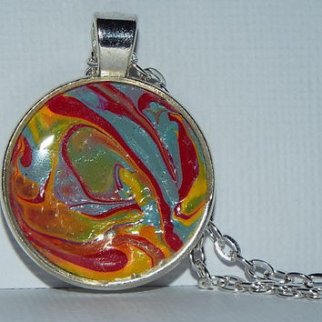 "Necklace, Round Pendant, Jewelry, ""The 60's"", Blue, Red, Hand Painted, OOAK, Gift Idea, Unisex, Wearable, Artwork, Painted, Gift, Christmas"