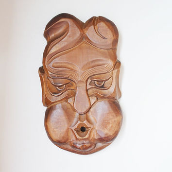 Wooden mask, handcarved mask, mask from Carpathian mountains, wooden face for home decor, Wall Hanging  mask, hand carved wooden present