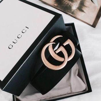 GUCCI Classic Double G Retro Metal Head Smooth Buckle Belt