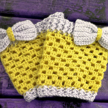 Hunter Boot Cuffs, Boot Toppers, Leg Warmers, Knitted, Boot Socks, Chunky, Bow Boot Cuffs, Cuff, Fashion Accessories, Vanilla Yellow