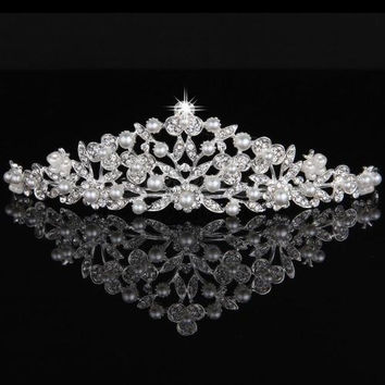 Silver Plated Rhinestone Pearl Flower Bride Wedding Tiara Hair Slide Comb Pin
