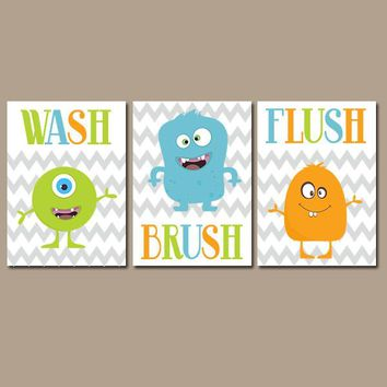MONSTER Bathroom, Child Monster, Canvas or Prints, Shared Kid Bathroom, Wash Brush Flush, Brothers Bath, Monster Theme, Set of 3 Wall Decor