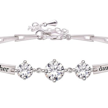 "Jewelry Sterling Silver ""mother daughter"" Cubic Zirconia Bracelet"