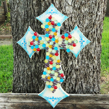Decorative Crosses,Stacked Crosses,Wooden Cross,Wooden Cross Decor,Cross Decor,Wall Cross,Decorative Crosses,Wooden Crosses,Glass Gem Cross