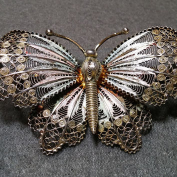 800 Silver Filigree Butterfly Brooch, with Color and Gold Washes, Book Piece!
