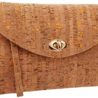 colorful cork clutch,orange,one size