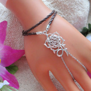 silver & leather Slave bracelet, ring bracelet combo , leather jewelry