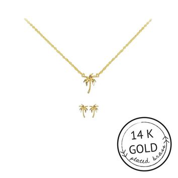 KITSCH PALM TREE CHARM NECKLACE/EARRING SET IN GOLD
