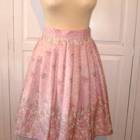 Pink floral 80's print, 50's style, full, knee length skirt size 12