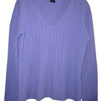 Lord & Taylor Womens Cashmere S Small Cable Knit V Neck And Sweater