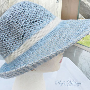 Pastel Blue Hippie Style Hat , Mod Fashion 60's Garden Party Sun Hat