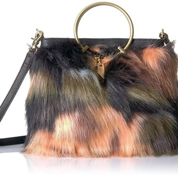 Faux Fur Ring Crossbody Foldover Tote