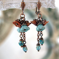 Teal and Copper Flower Dangle Earrings - Vintage Style Turquoise Blue Jewelry - Victorian Flower Chain Earrings - Antique Copper Czech Glass