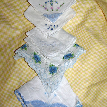 Vintage Handkerchief Set Something Blue Bridal Hankies Wedding Hanky set 5  Blue and White Embroidered Handkerchiefs