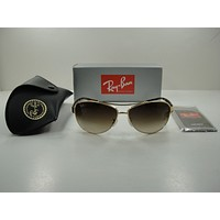 RAY-BAN AVIATOR SUNGLASSES RB3386 001/13 GOLD TORTOISE/BROWN GRADIENT LENS 67MM