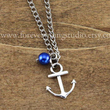 Anchor bracelet, anchor and navy blue bead ,friendship necklace, christmas gift - SALE