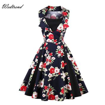 Wedtrend O-Neck Patchworks Print Flowers Leaves 1950s 1960s Dresses Elegant Classic Loose Dress Cheap Vintage Swings Retro Dress
