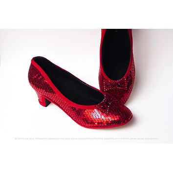 Red Sequin French High Heels
