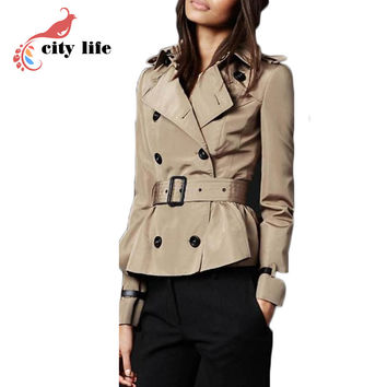 2016 Woman Short Trench Coat With Sashes Runway Catwalk Khaki Black Brand Autumn Winter Double Breasted Windbreaker