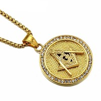 Golden Masonic Iced-Out Necklace