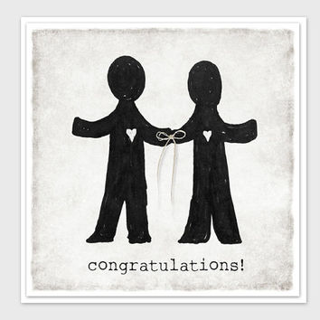 Mr. & Mr., Congratulations, Gay Wedding Card, Gay Couple Card, Tie the Knot Card, Invitation, Handmade, Irish Linen String, Unique, Special