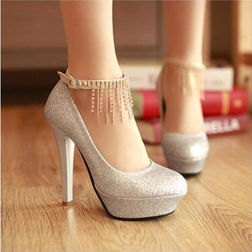 Fashion rhinestone wedding shoes ultra high heels princess sex party shoes crystal women's pumps platform shoes red gold white