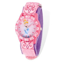 Disney® Cinderella Acrylic Case Pink Velcro Time Teacher Watch