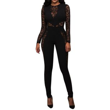 Black Fitted Sheer Lace Jumpsuit/Catsuit