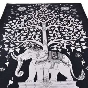 Black and white Twin tree elephant Mandala Tapestry Indian Wall Hanging Bohemian Hippie Bedspread Throw home Decor