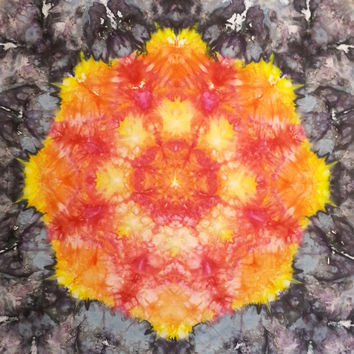"""large mandala tie dye tapestry or wall hanging in red yellow black 58"""" X 52"""""""