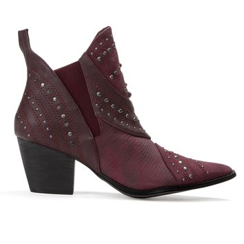 Matisse Storm Burgundy Studded Cowboy Ankle Boot