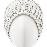 Marled Pom-Pom Beanie by Charlotte Russe - White Combo