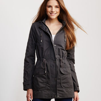 Topstitched Sleeve Hooded Parka