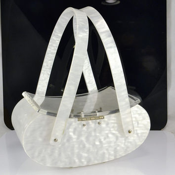 Lucite Box Purse MAXIM Signed - Pearlized White - Clear Acrylic Lid - Rare Curved Style - Double Handle Space Age Atomic  Fashion Accent
