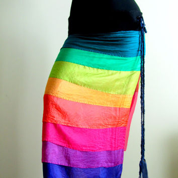 Nuno Felted Rainbow Wrap Skirt. Wrap Around Skirt.