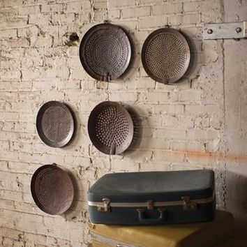 Set Of 5 Assorted Iron Strainer Wall Hangings