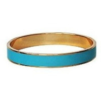 Enamel Bangle Bracelet 16k Gold Plated Cyan Turquoise