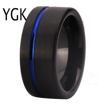 New Arrival Classic Rings Fashion Tungsten Wedding Ring For Women Men's Black Plating With Blue Grooved engagement Ring PARTY