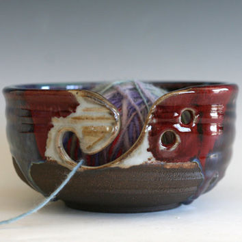 Yarn Bowl, knitting bowl, pottery yarn bowl,handmade ceramic yarn bowl, READY to Ship