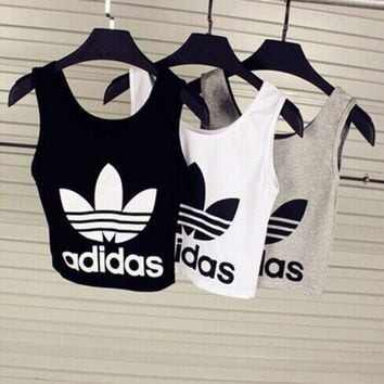 Fashion Casual Adidas Print Sleeveless Vest T Shirt